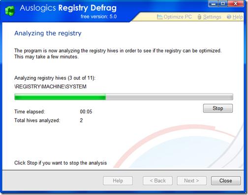 AuslogicsRegistryDefrag.Analyzing
