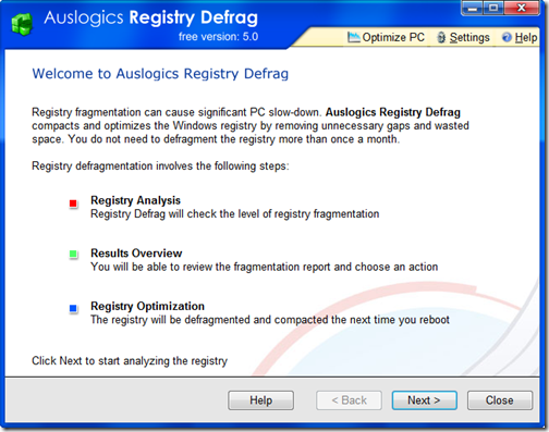 AuslogicsRegistryDefrag.FristScreen