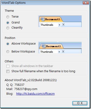 WordTab.Options