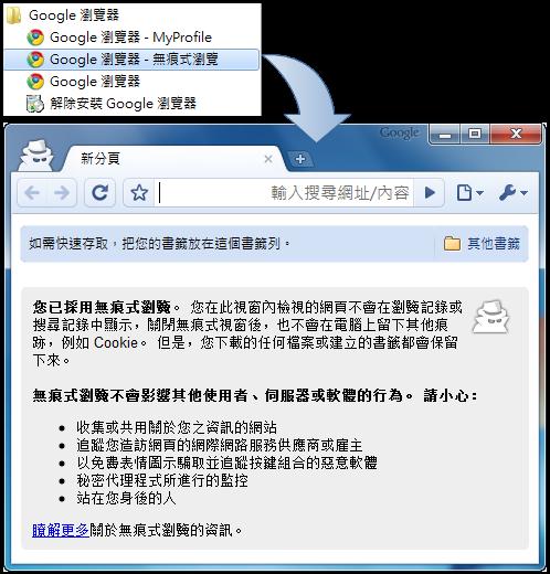按捷徑直接開啟 Chrome 無痕式視窗