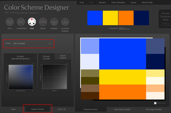 Color Scheme Designer - 調整配色