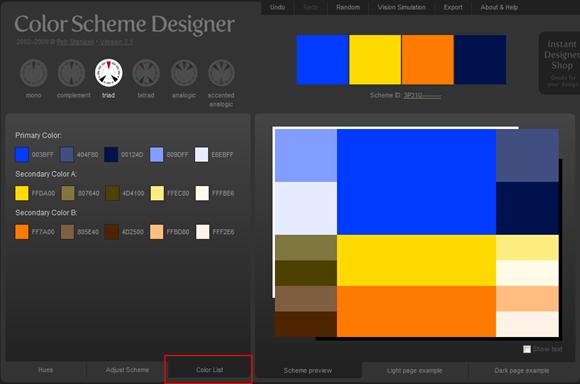 Color Scheme Designer - 顏色列表