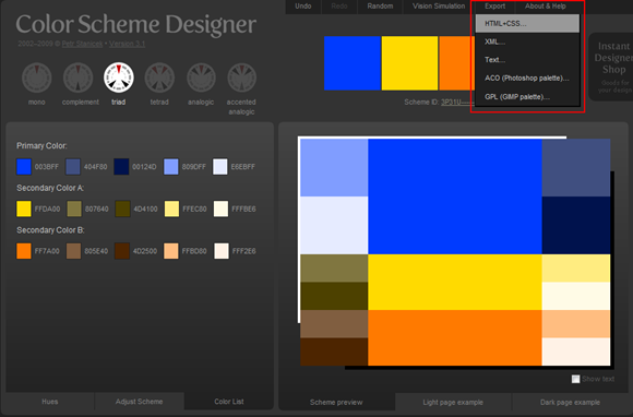 Color Scheme Designer - 匯出色票