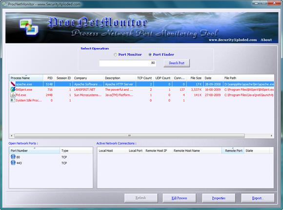 點圖放大:ProcNetMonitor 搜尋開啟的連接埠