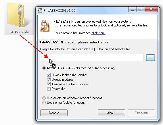 FileASSASSIN - 拖曳要解鎖的檔案到程式主視窗裡