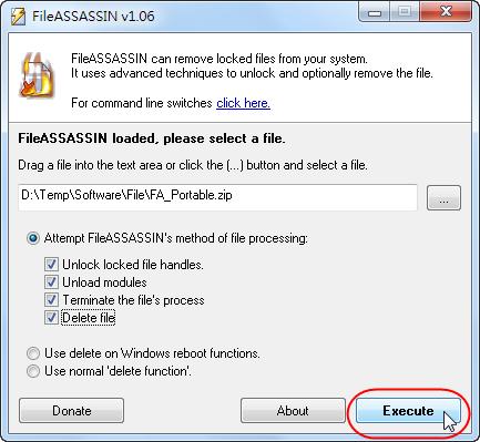 FileASSASSIN - 選擇要執行的作業