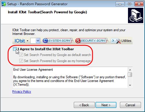 IOBit Random Password Generator - 是否安裝 IOBit Toolbar