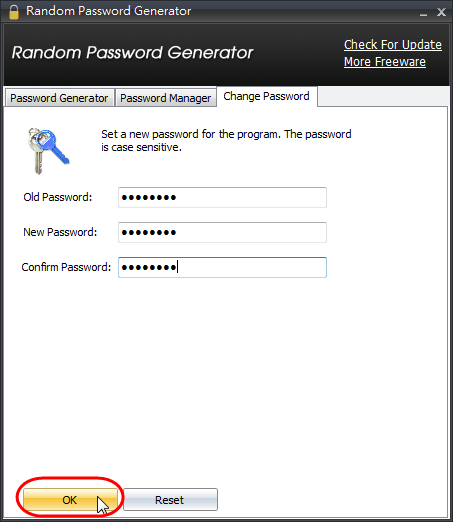 IOBit Random Password Generator - 修改程式主密碼