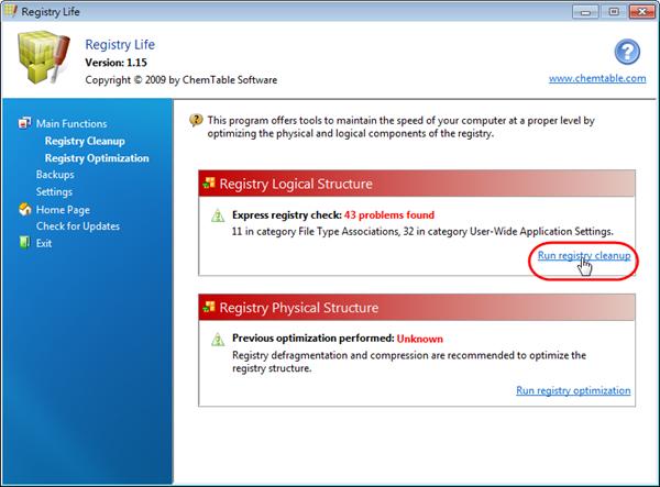 Registry Life - 執行登錄檔清理