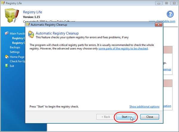 Registry Life - 開始掃描登錄檔