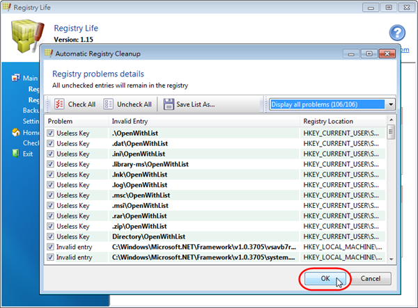 Registry Life - 檢視登錄檔問題