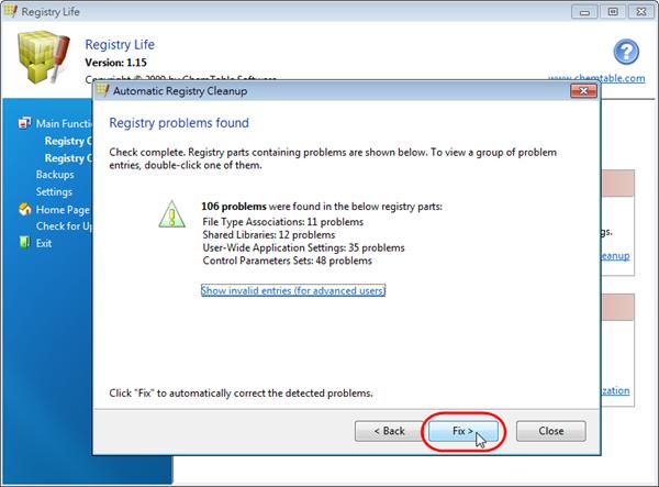 Registry Life - 開始修復登錄檔問題