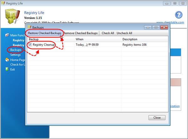 Registry Life - 原還登錄檔