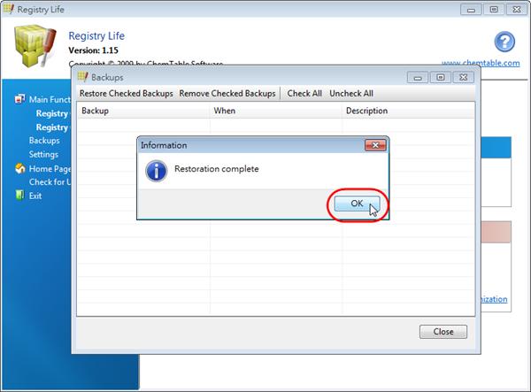 Registry Life - 完成登錄檔還原