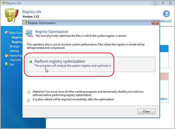 Registry Life - 開始執行最佳化作業