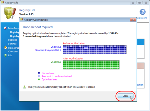 Registry Life - 登錄檔最佳化後的結果