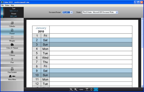 Calme 2010 - 紙張格式、印表機(按圖放大)
