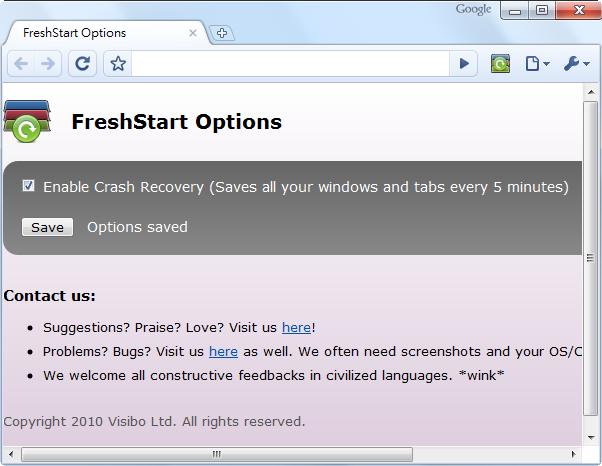 FreshStart - 選項畫面