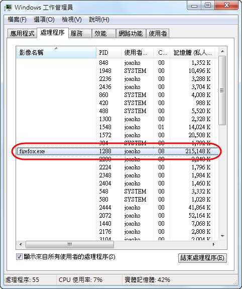 Memory Fox - 使用前的記憶體用量
