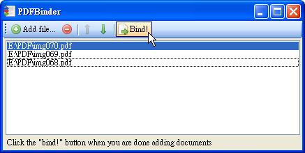 PDFBinder - 按下結合鈕