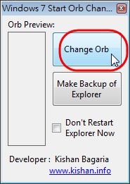 Windows 7 Start Orb Changer - 按下 Change Orb