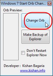 Windows 7 Start Orb Changer - 按下 Change Orb