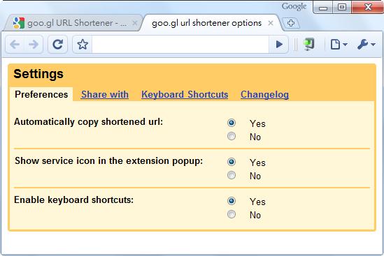 goo.gl URL Shortener - 主要選項