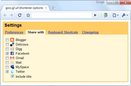 goo.gl URL Shortener - 網站選項