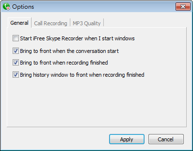 iFree Skype Recorder - General 選項