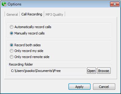 iFree Skype Recorder - 錄音選項