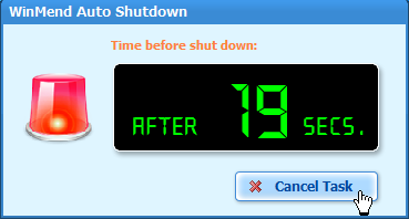 WinMend Auto Shutdown - 執行前的倒數計時