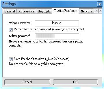 NoteFly - Twitter、Facebook 選項