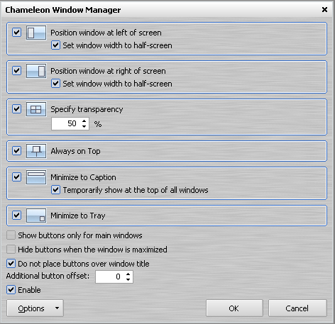 Chameleon Window Manager - 程式設定