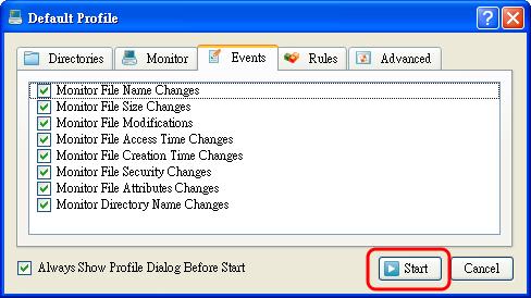 DiskPulse - 監視的詳細活動類型