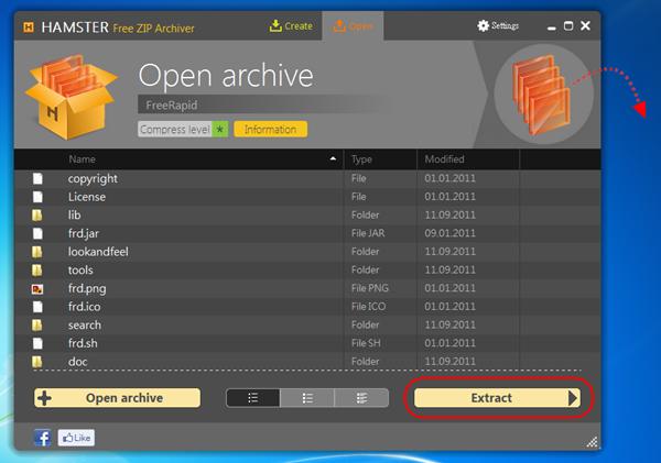 Hamster Free ZIP Archiver - 解壓檔案