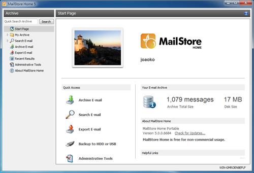 MailStore Home - 主介面(點圖放大)