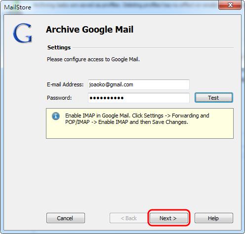 MailStore Home - 輸入 Gmail 帳號、密碼