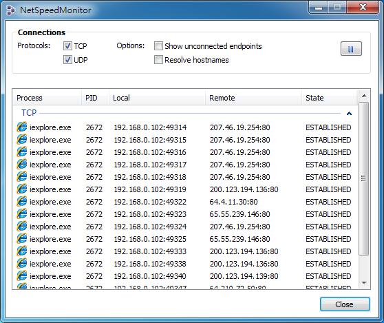 NetSpeedMonitor - 目前連線視窗