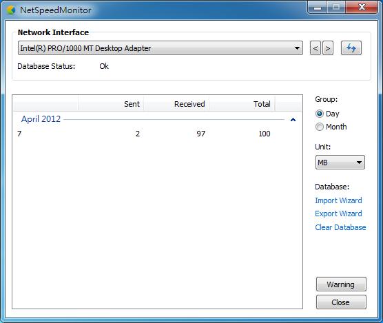 NetSpeedMonitor - 流量統計視窗