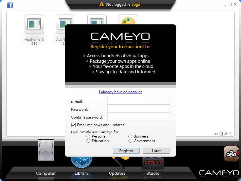 Cameyo - 註冊