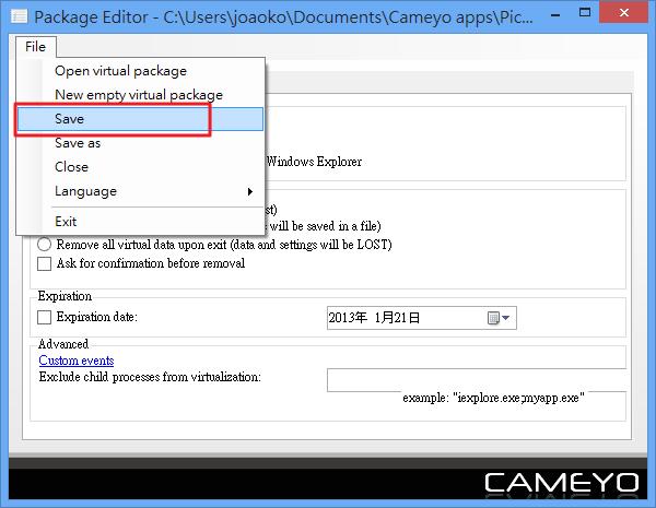 Cameyo - 儲存可攜版軟體包
