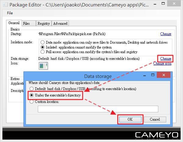 Cameyo - 設定 Data storage