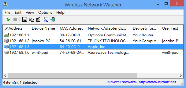 Wireless Network Watcher - 主要介面