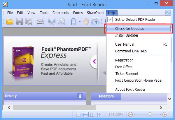 Foxit Reader - 檢查更新