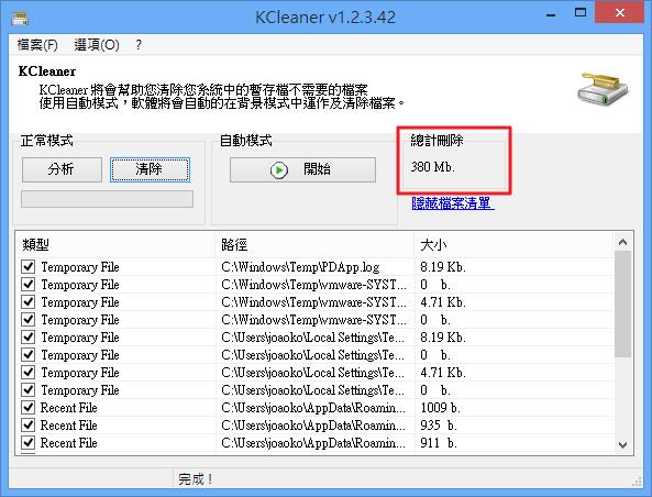KCleaner - 清理完畢