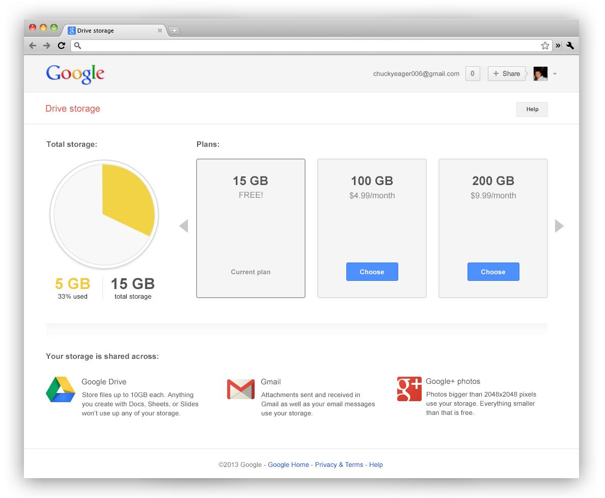 整合後的 Google 儲存空間