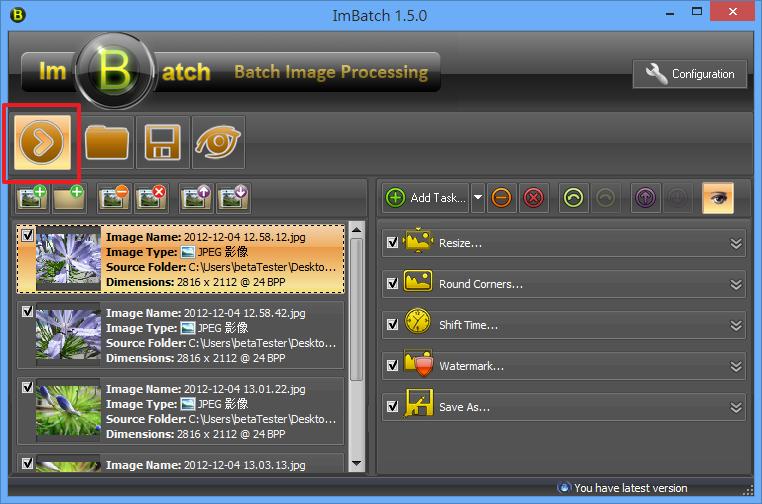 ImBatch - 開始批次處理