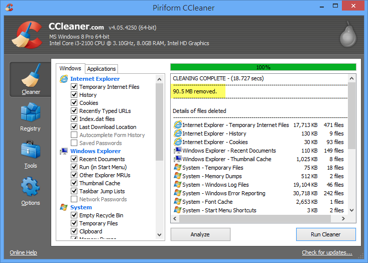 CCleaner - 清理完畢
