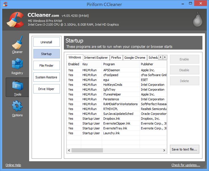 CCleaner - 管理啟動項目