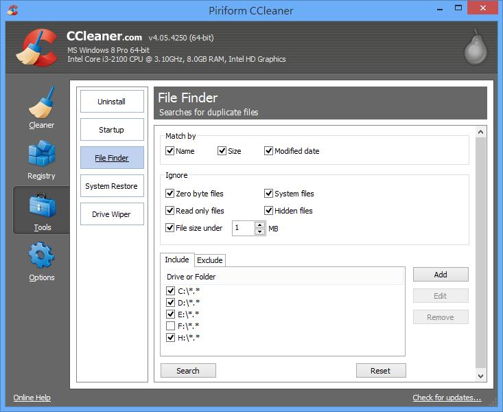 CCleaner - 搜尋重複檔案
